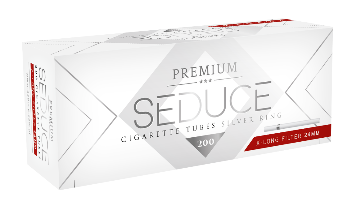 SEDUCE Silver RING 100 white cigarette filter tubes with 2 rings around each tube